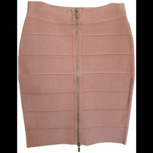 BCBC brown/blush front zipper bodycon skirt